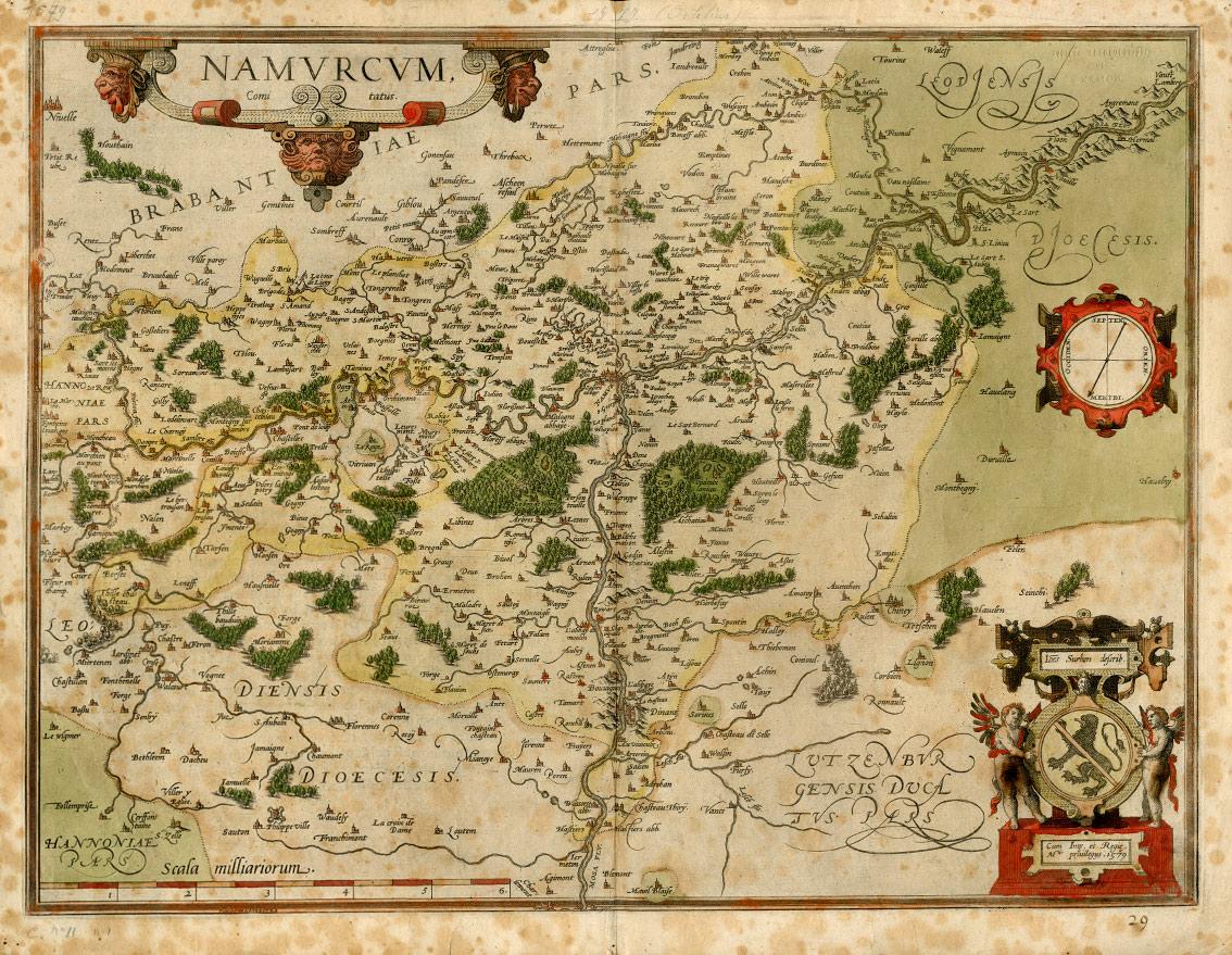 Carte du comté de Namur en 1579. À l'est de la Meuse, les massifs forestiers rappellent l'ancienne forêt d'Arche au sud de laquelle est constituée la prévôté de Poilvache au XIIIe siècle. Gravure colorée par Jean Surhon (© SAN)
