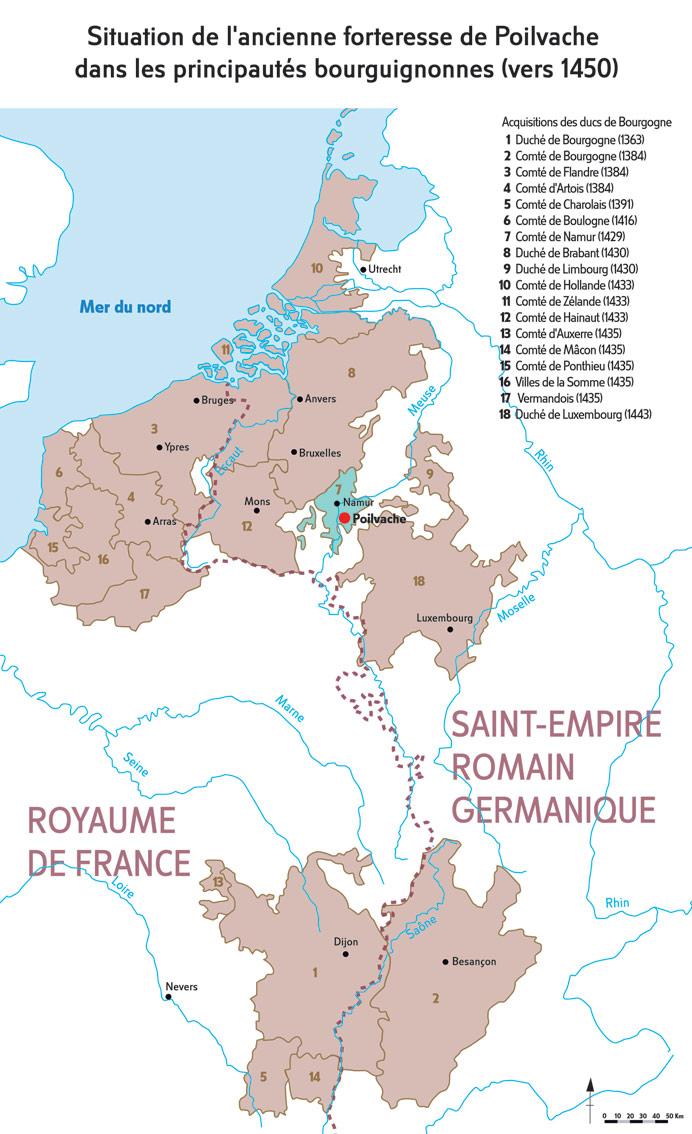 Situation de l'ancienne forteresse de Poilvache dans les principautés bourguignonnes (vers 1450). Réalisation Élise Embrechts, Phi Média. © MPMM